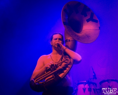 Harry Phillips on Sousaphone of Lucky Chops, The Fillmore, San Francisco, CA. February 27th, 2018. Photo Anouk Nexus