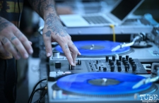 Spinning at the Silent Disco, The 24k Block Party, May 19, 2018, Sacramento, CA, Photo by Daniel Tyree