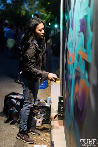 Franceska Gamez live painting, The 24k Block Party, May 19, 2018, Sacramento, CA, Photo by Mickey Morrow