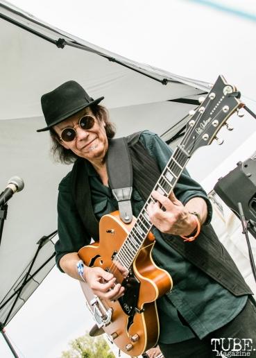 Richard Urbino guitarist/vocalist of According to Bazooka, First Festival, Tanzanite Park, Sacramento, CA, May 5th, 2018, Photo by Mickey Morrow