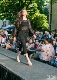 Jasmine Navarro wearing clothes from Richard Hallmarq Clothing, Dress Up-Wine Down, Capitol Avenue, Sacramento, CA. May 12th, 2018. Photo Mickey Morrow