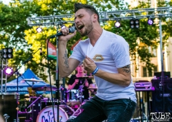 Kyle Crossen vocalist of The Color Wild, Concerts in the Park, Cesar Chavez Park, Sacramento, CA. May 11, 2018. Photo Mickey Morrow