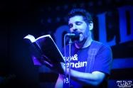 "Jonah Matranga reading from ""Alone Rewinding,"" Goldfield Trading Post, Sacramento, CA, June 15, 2018, Photo by Daniel Tyree"