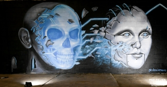 Molly Devlin Mural, Light.Wav Sacramento Tech-Art Showcase, Sacramento, CA, June 16, 2018, Photo by Daniel Tyree