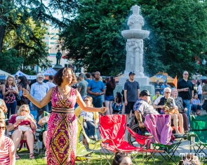 Attendees, Concerts in the Park, Cesar Chavez Park, Sacramento, CA. June 8, 2018. Photo Mickey Morrow