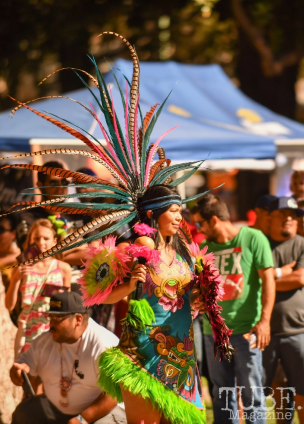 A Maquilli Tonatiuh Aztec Dancer, Festival en la Calle, Southside Park, Sacramento, CA September 16, 2018, Photo by Daniel Tyree