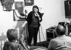Comedian Jeanette Marin, Invisible Disabilities open mic. Luna's Cafe, Sacramento, CA. September 12th, 2018. Photo by Mickey Morrow.