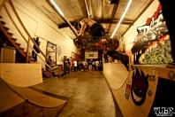 Keegan with a backside over the gap, Art Show, Boulevard Skate Shop, September 22, 2018, Sacramento CA. Photo by Joey Miller