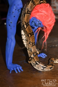Jessica Will, painted by SuperHellaOMG, Mystic Pop-Up Show, Alchemy Salon & Spa, Sacramento, CA, October 19, 2018, photo by Daniel Tyree
