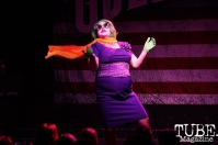 ChaCha Bernadette with a Joker inspired performance at Indiana Bones Grrrly Show January 2nd, Goldfields Training Post, Sacramento, California photo by Joey Miller